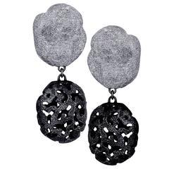 Alex Soldier Silver Platinum Textured Drop Earrings
