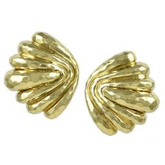 Henry Dunay Faceted Gold Earclips