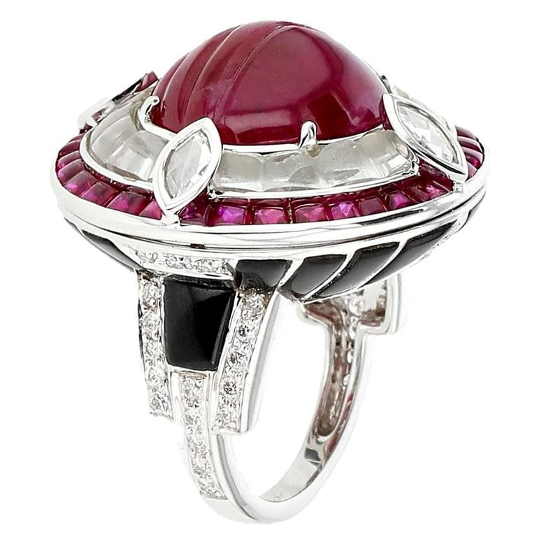 Ruby Diamond Black Jade Gold Ring 1