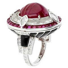 Ruby Diamond Black Jade Gold Ring