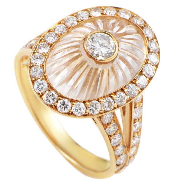 Boucheron White Crystal Diamond Gold Ring