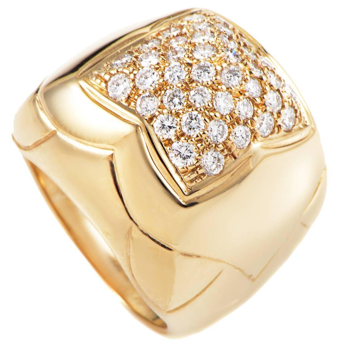 bulgari piramide diamond pave gold ring