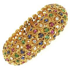 Impressive 1960s Sapphire Emerald Ruby Diamond Gold Bracelet