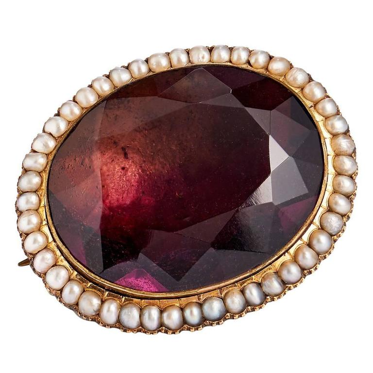 Late Victorian Paste Amethyst Pearl Gold Pin For Sale