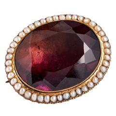 Late Victorian Paste Amethyst Pearl Gold Pin
