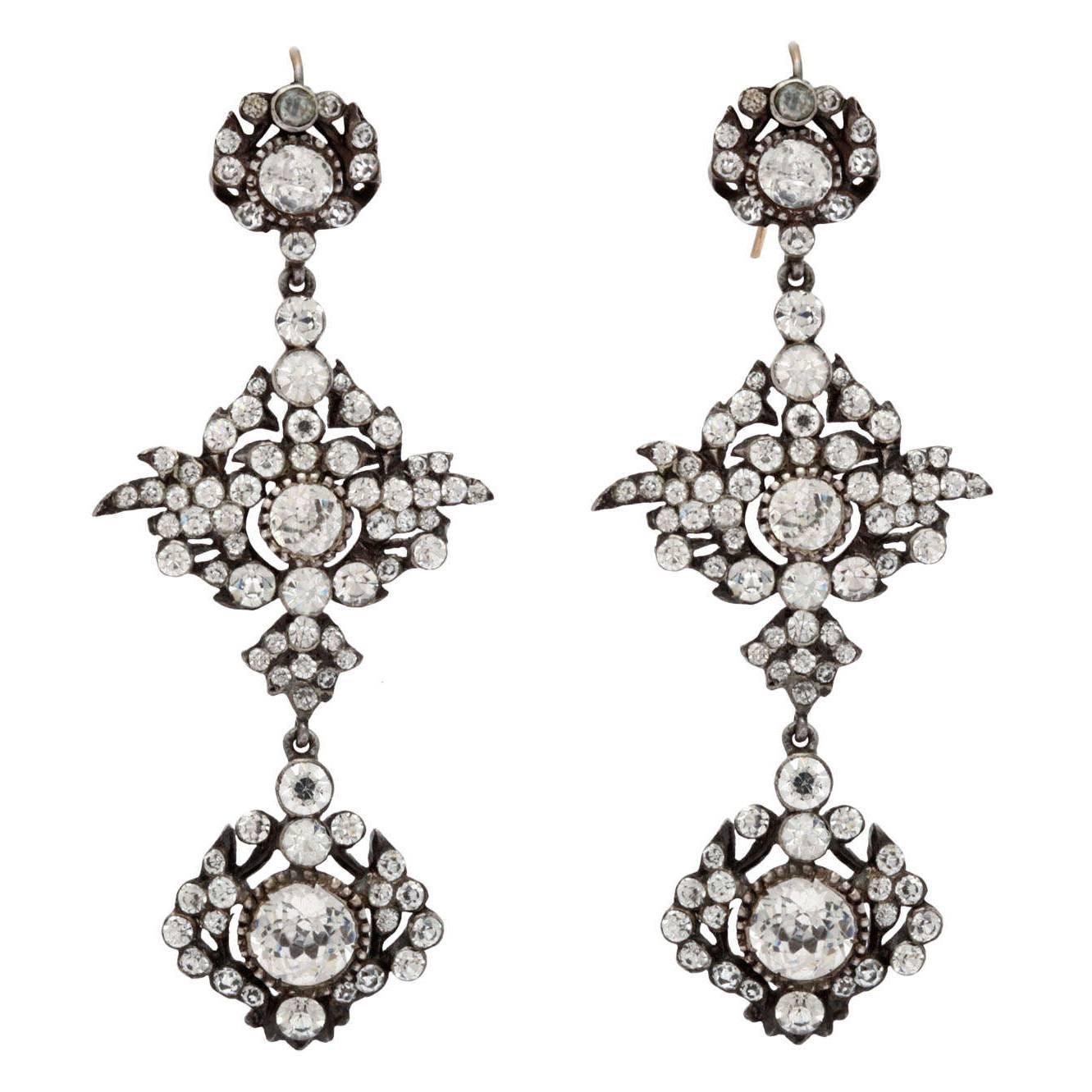 Antique Edwardian Paste Chandelier Earrings