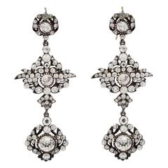 Magnificent Chandelier Earrings of Shining Paste