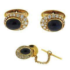 Erwin Pearl Sapphire Gold Diamond Cufflinks Tie Tack Dress Set