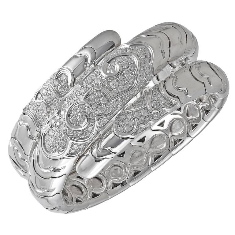 "Marina B. ""Onda"" Diamond Gold Bracelet For Sale"