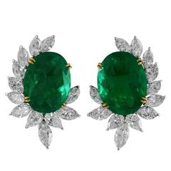 Important 40.11 Carats Emeralds Diamond Cluster Earclips