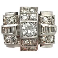 1930s French 1.61 Carat Diamond, 18k White Gold Dress Ring