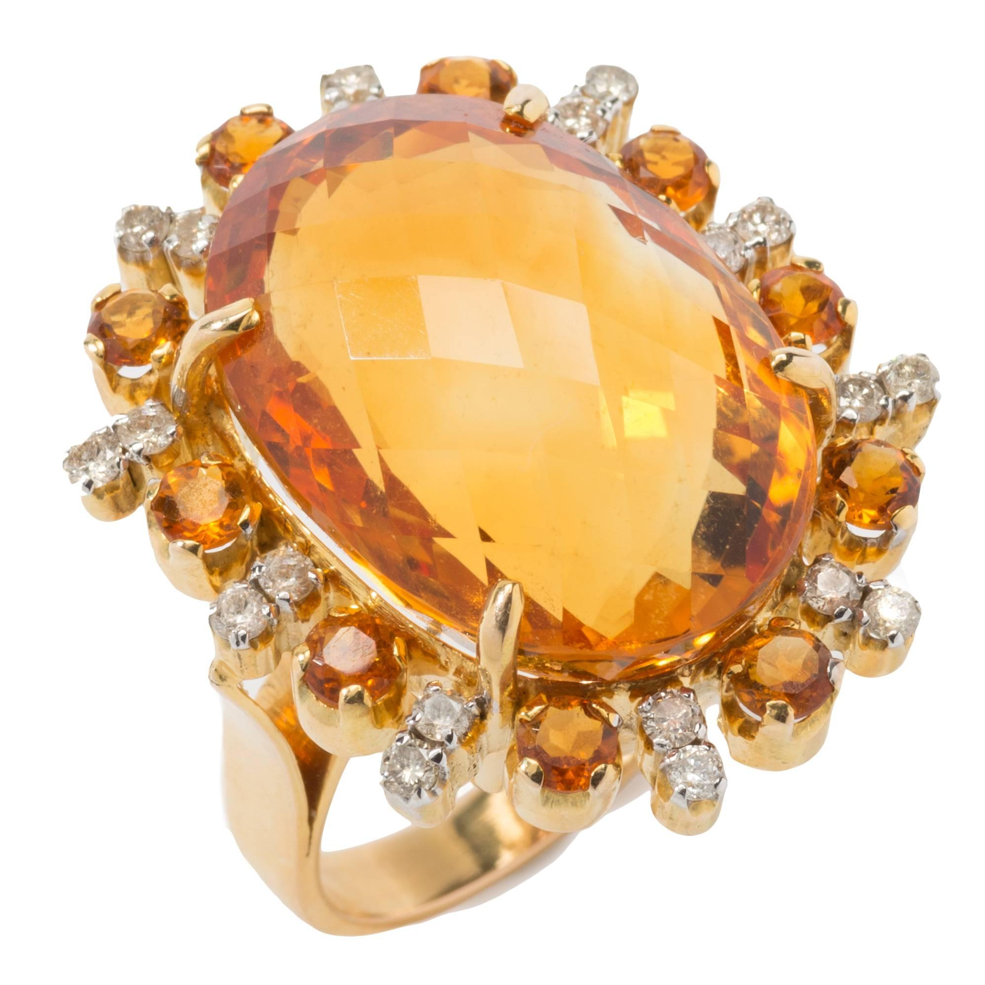 Topaz Diamond Gold Cocktail Ring