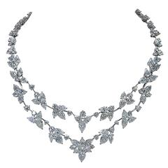 Stunning 63.32 Carats Diamonds Platinum Necklace