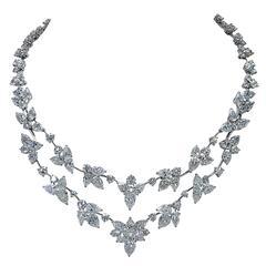 Stunning 63.32 Carat Diamonds Platinum Necklace