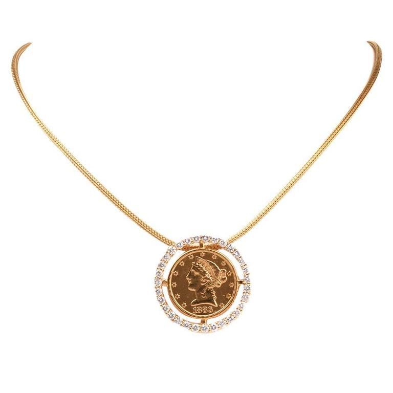 American Eagle $5 Liberty Coin Diamond Gold Frame Pendant Necklace 1