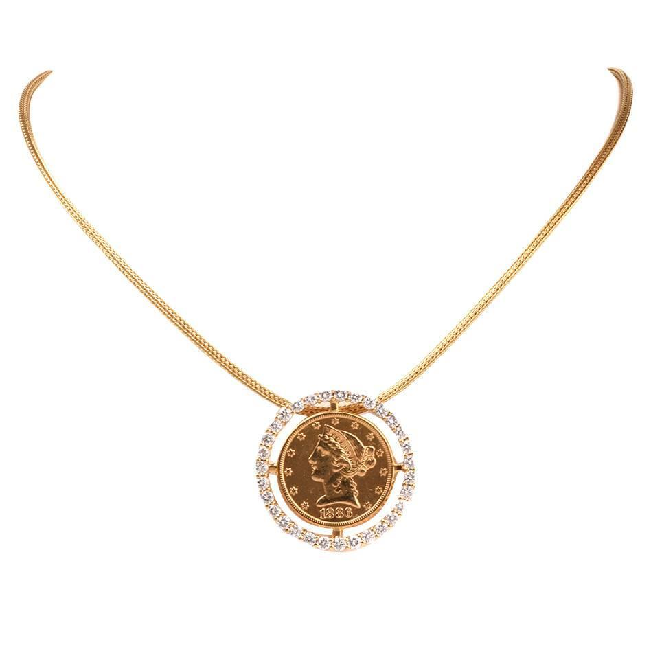 american eagle 5 liberty coin gold frame pendant