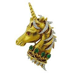 David Webb Emerald Ruby Diamond Gold Platinum Unicorn Brooch Pin