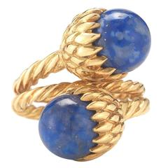 Tiffany & Co. Schlumberger Lapis Gold Acorn Ring