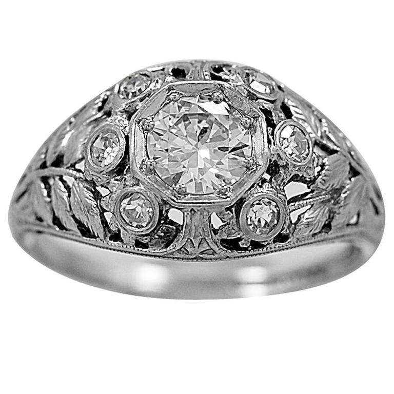 Art Deco 0.51 Carat Diamond Platinum Engagement Ring