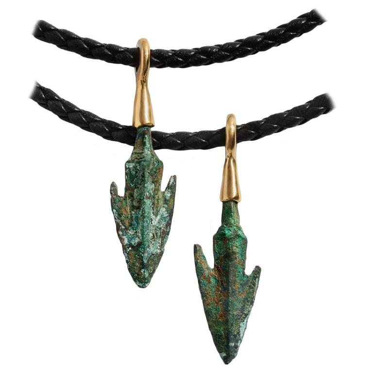 Roman Empire Bronze Gold Arrowhead Pendant