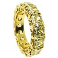 Fancy Yellow Radiant Diamond Gold Eternity Band Ring