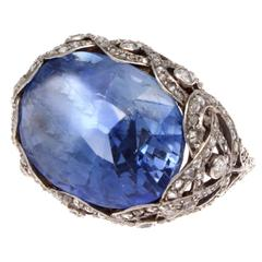 Art Deco GIA Cert 15 Carat Natural Sapphire Diamond Platinum Ring