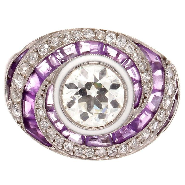 amethyst platinum engagement ring at 1stdibs