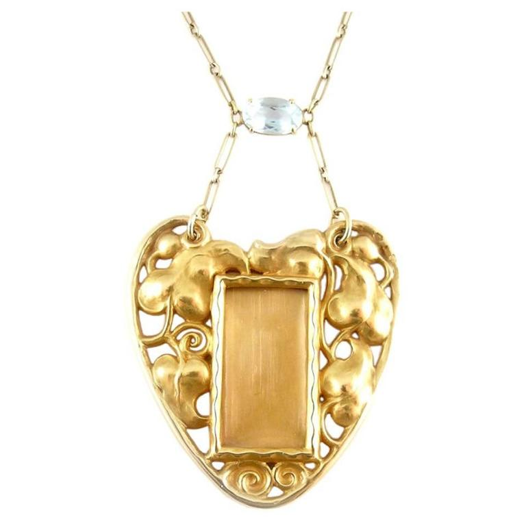 Art Nouveau Aquamarine Gold Pendant Picture Frame Necklace 1