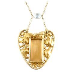 Art Nouveau Aquamarine Gold Pendant Picture Frame Necklace