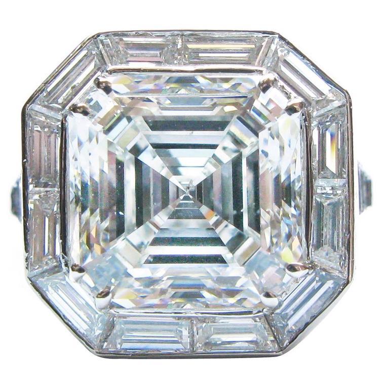 6.01 Carat GIA Cert Asscher Diamond Platinum Engagement Ring