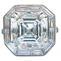 6.01 Carat GIA Cert Asscher Diamond Platinum Engagement Ring