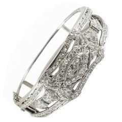 Art Deco Sapphire Diamond Gold Platinum Cuff Bracelet