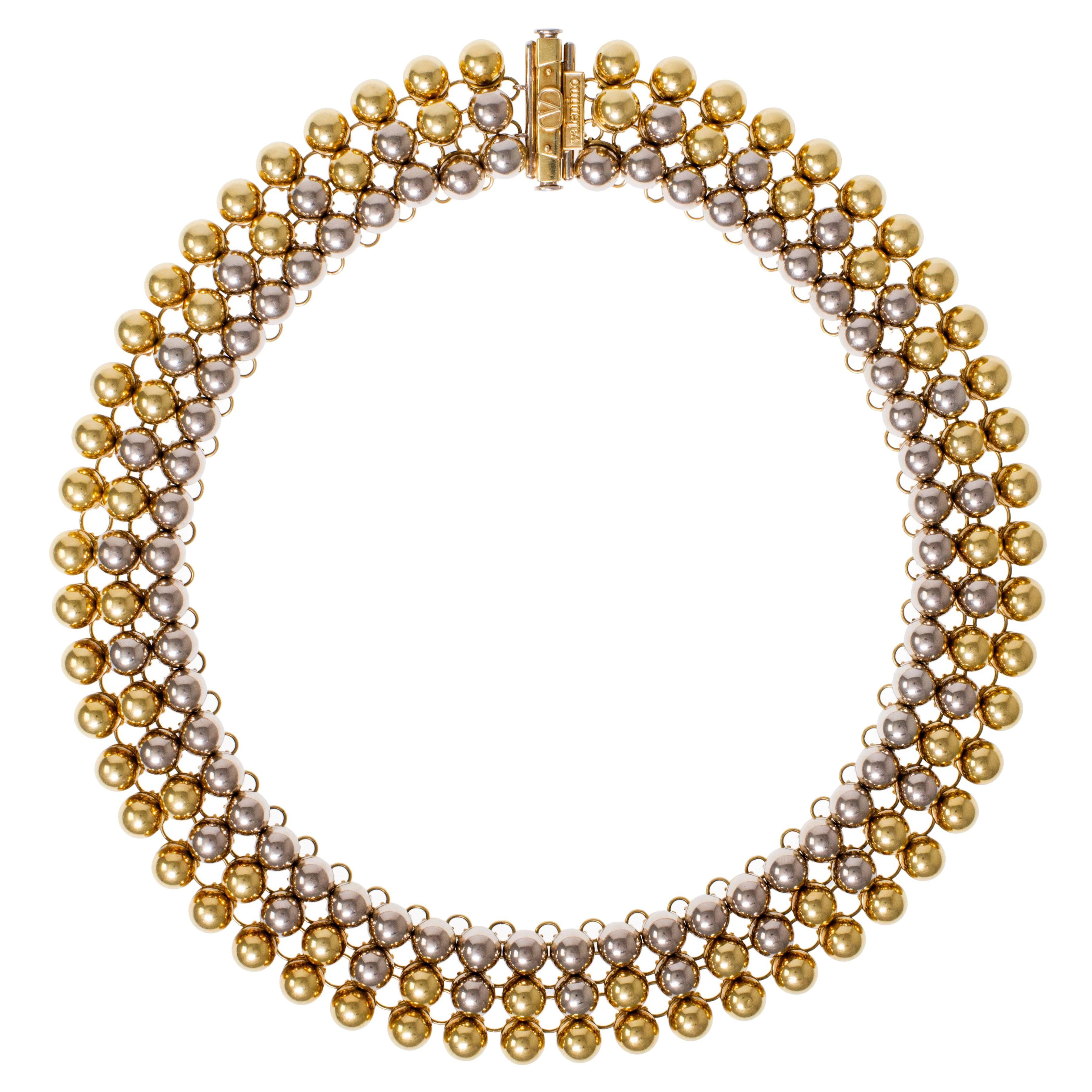 1970s Valentino Bicolor Gold Bead Collar Necklace