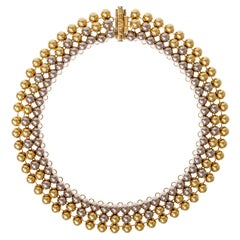 1970s Valentino Bicolor Gold Bead Collar Necklace