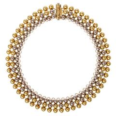 Valentino Two Color Gold Three Row Collar Necklace