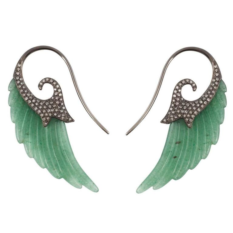 18K Black Gold Wing Earrings with Aventurine and White Diamonds