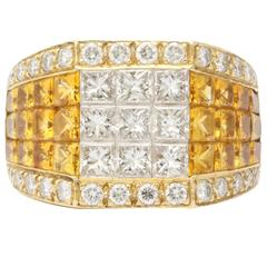 Intense Yellow Sapphire & Diamond Ring