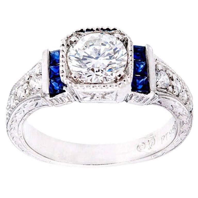 Peter Suchy 1.00 Carat GIA certified Diamond Sapphire Platinum Engagement Ring