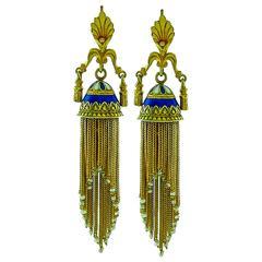 Victorian Enamel Seed Pearl Gold Tassel Earrings