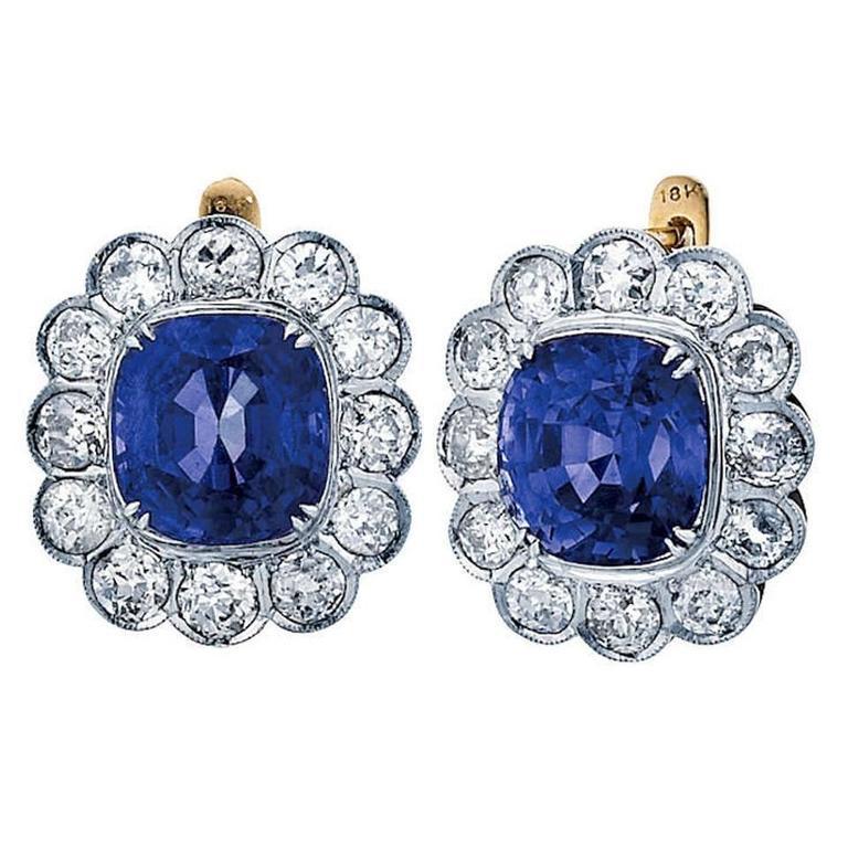 Burmese no heat Blue Sapphire Diamond gold platinum Drop Earrings