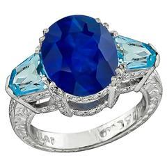 Impressive 5.42 Carat Sapphire Aquamarine Diamond Ring