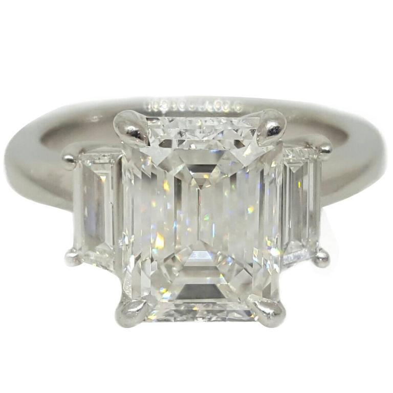 Fine 3 02 Carat GIA Cert Emerald Cut Diamond Platinum Ring at 1stdibs