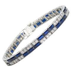 Caldwell Art Deco Diamond and Sapphire Platinum Bracelet, Circa 1935