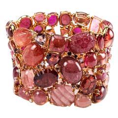 Pink Tourmaline Brilliant Cut Diamond Gold Cluster Bracelet