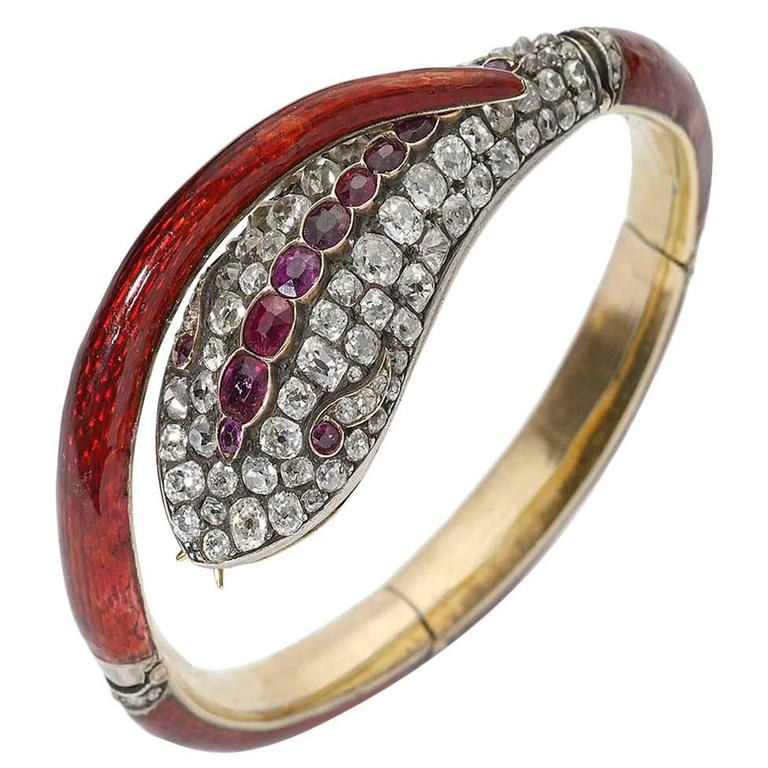 Victorian Red Enamel Diamond Gold Snake Bangle Bracelet For Sale