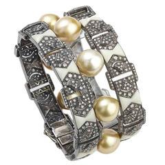 Pearl Bakelite Diamond Silver Gold Bracelet