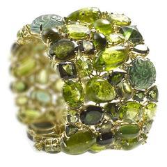 Tourmaline Peridot Diamond Gold Bracelet