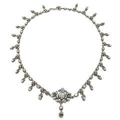 Georgian Rose Cut Diamond Silver upon Gold Necklace