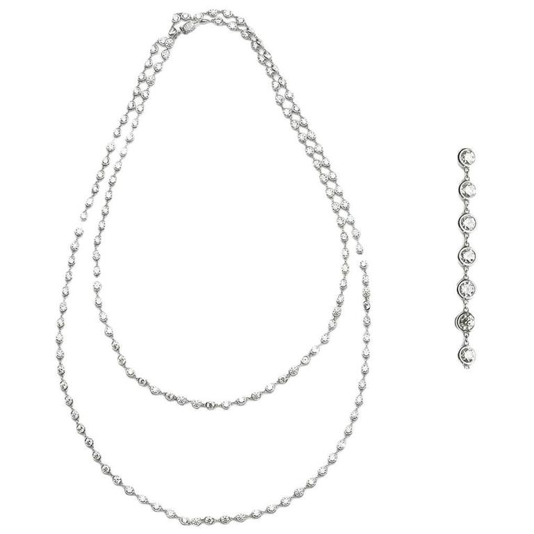 Diamond Gold Long Chain Necklace For Sale