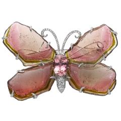 Tourmaline Diamond Platinum Butterfly Brooch